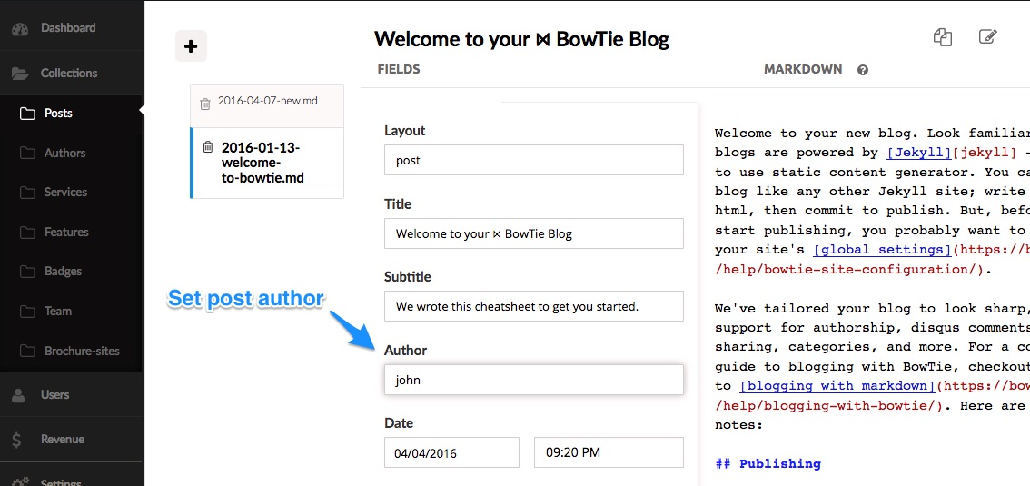 """define post author - BowTie"""