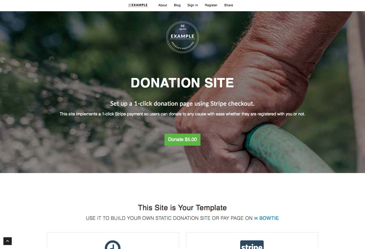 Example donation site on BowTie